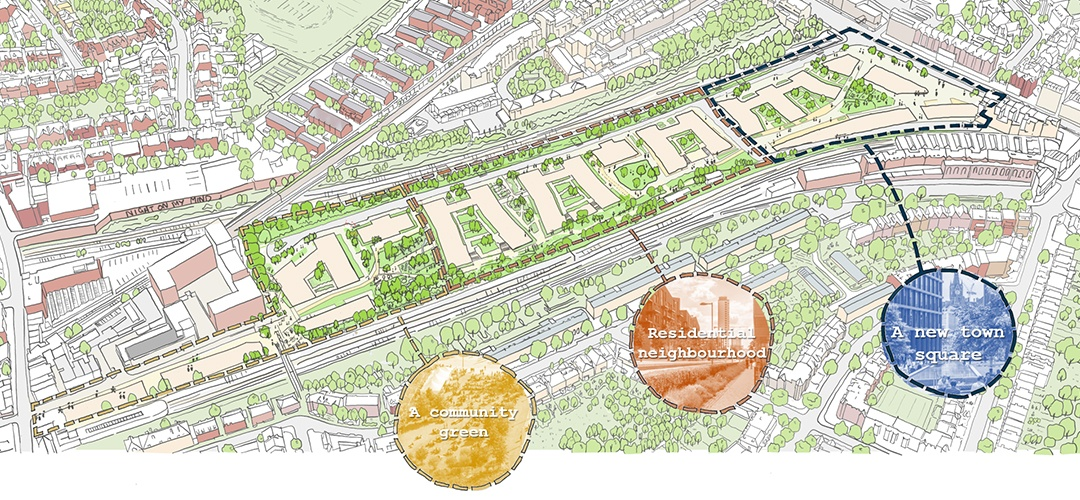 Masterplan sketch showing the emerging vision for the site
